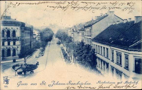 Ak St Johann Saarbrücken im Saarland, Blick auf die Reichsstraße mit Bahnhof