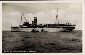 Ak Dampfschiff Cobra, HAPAG Seebäderdienst, Turbinen Schnelldampfer