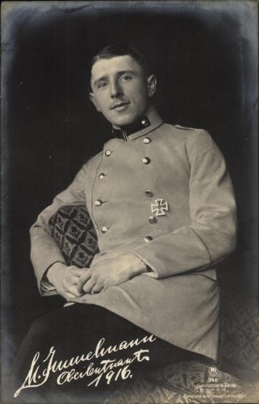 Ak Jagdflieger Oberleutnant Max Immelmann, Portrait, Sanke 340