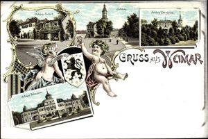 Litho Weimar in Thüringen, Schloss Tiefurt, Schloss Ettersburg, Schloss Belvedere, Wappen