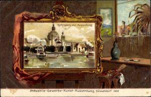 Passepartout Künstler Litho Düsseldorf, Industrie Gewerbe Kunst Ausstellung 1902, Hafenplatz