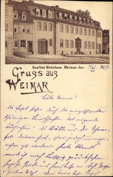 Litho Weimar in Thüringen, Wohnhaus des Dichters u. Schriftstellers Johann Wolfgang von Goethe