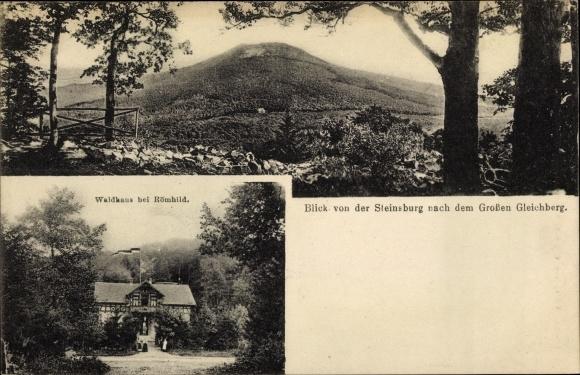 Ak Römhild Region Grabfeld Thüringen, Blick von der Steinsburg nach dem Großen Gleichberg, Waldhaus