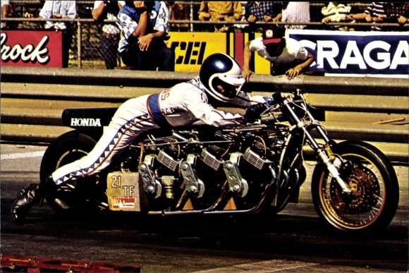 Ak Motorradfahrer Russ Collins, Sprintmaschinen, Dragsters, Motorrad