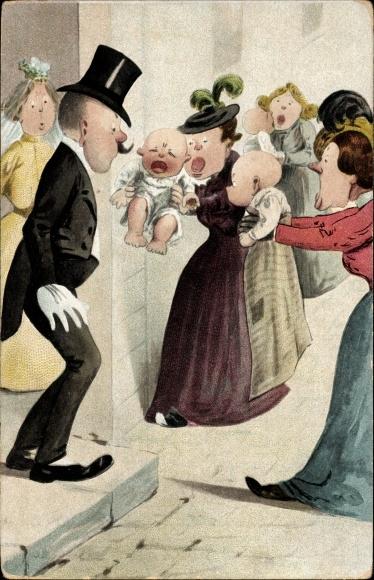 Künstler Ak Hochzeitspaar kommt aus der Kirche, Frauen mit Babys, Vater