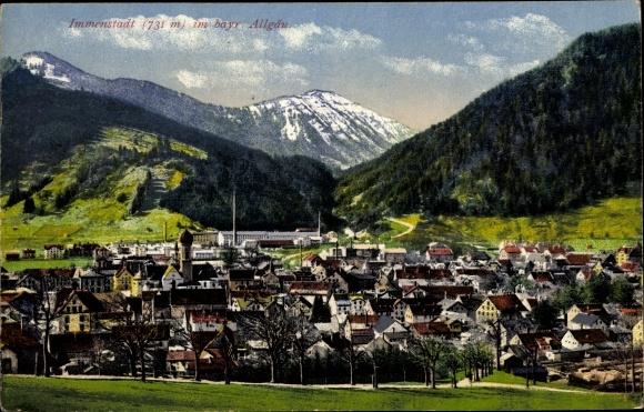 Ak Immenstadt im Allgäu Schwaben, Panoramaa der Ortschaft und Umgebung