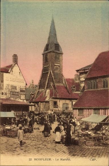 Ak Honfleur Calvados, Le Marché, Marktplatz, Händler, Uhrenturm