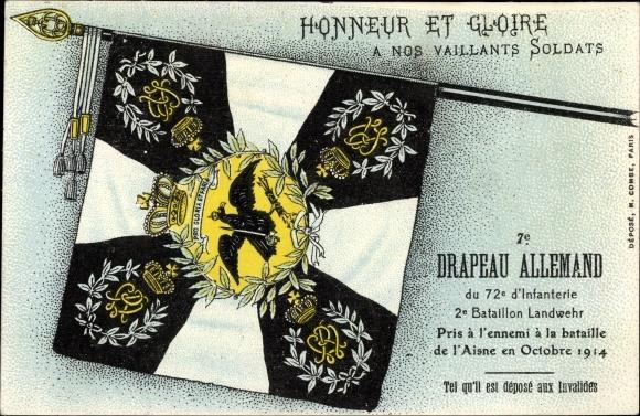 Ak 7e Drapeau Allemande du 72e d'Infanterie 2e Batl Landwehr, Octobre 1914