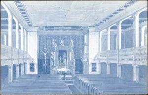 Ak Rodewisch im Vogtland Sachsen, Blick in das Innere der erneuerten Kirche, Altar