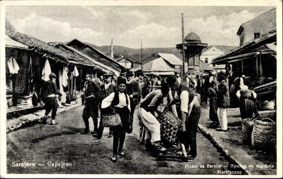 Ak Sarajevo Bosnien Herzegowina, Marktplatz mit Marktständen