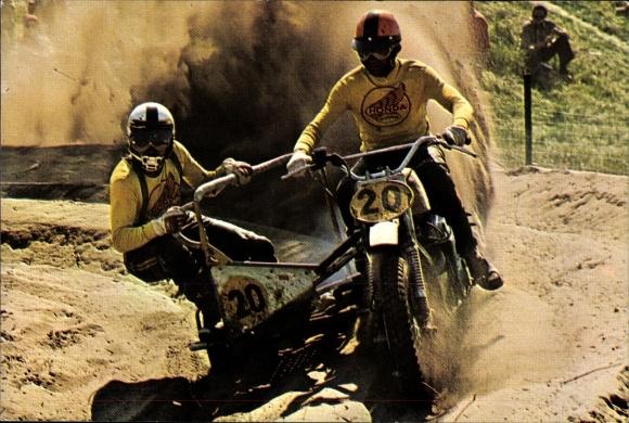 Ak Motocrossrennen, Rennfahrer Michel Girardin, Freddy Hartmann, Motorrad mit Beiwagen