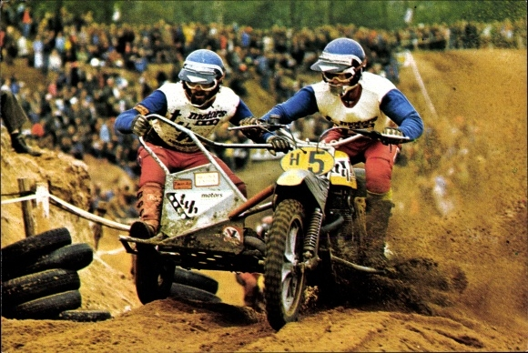 Ak Motocrossrennen, Rennfahrer Ton van Heugten, Dick Steenbergen, Motorrad mit Beiwagen