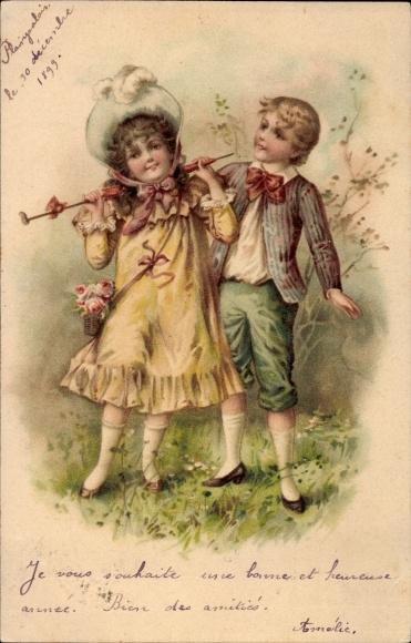 Künstler Ak Junge und Mädchen auf einer Wiese, Sonnenschirm, Hut, Rosen