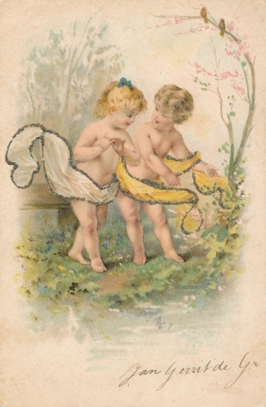 Glitzer Litho Junge und Mädchen auf einer Wiese, Vögel