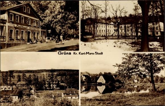 Ak Grüna in Sachsen, Forsthaus Grüna, anno 1868