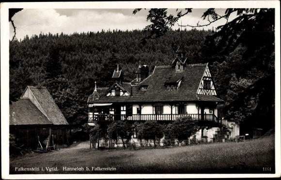 Ak Falkenstein im Vogtland Sachsen, Waldpartie in Hanneloh mit Fachwerkhaus