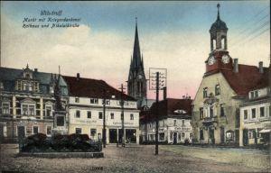 Ak Wilsdruff Sachsen, Markt, Kriegerdenkmal, Rathaus, Nikolaikirche, Café Beeger, Schänke Alte Post