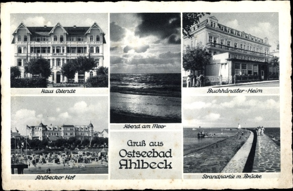Ak Ostseebad Ahlbeck Heringsdorf, Haus Ostende, Buchhändlerheim, Ahlbecker Hof, Strand, Brücke