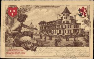 Litho Düsseldorf am Rhein, Industrie-, Gewerbe- und Kunstausstellung 1902, Café zur schönen Aussicht