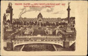 Litho Düsseldorf am Rhein, Industrie-, Gewerbe- und Kunstausstellung 1902, Betonverein, Kunstpalast