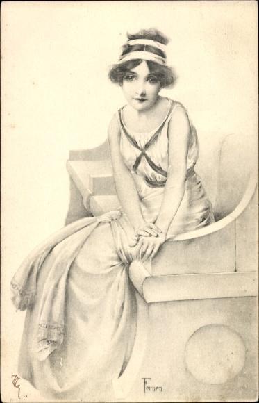Künstler Ak Fernen, Junge Frau auf einer Steinbank sitzend, Munk