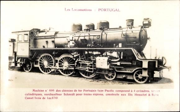 Ak Portugiesische Eisenbahn, Dampflok, Machine No 606, Type Pacific