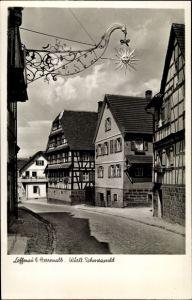 Ak Loffenau in Baden Württemberg, Gasthaus Pension zur Sonne, Bes. Emil Fieg, Fachwerkhäuser