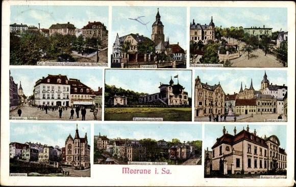 Ak Meerane in Sachsen, Kgl. Amtsgericht, Ferienkolonieheim, Bismarckplatz, Kaiserliches Postamt