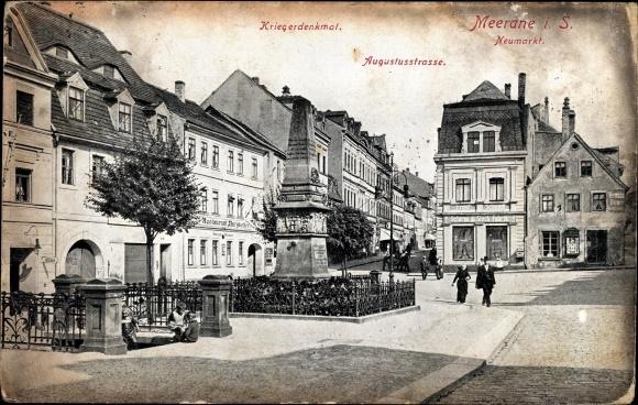 Ak Meerane in Sachsen, Partie an der Auguststraße, Kriegerdenkmal, Restaurant Burgkeller