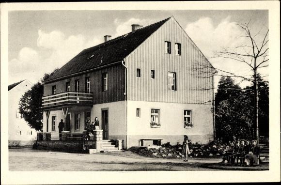 Ak Weinböhla in Sachsen, Blick auf das FDGB Ferienheim Heidehof, Feriengäste