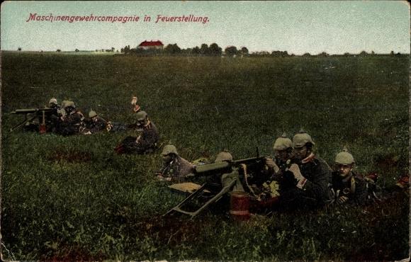 Ak Deutsche Maschinengewehr Kompanie in Feuerstellung