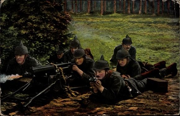 Ak Das Deutsche Heer, Gruppe einer Maschinengewehr Kompanie im Angriff
