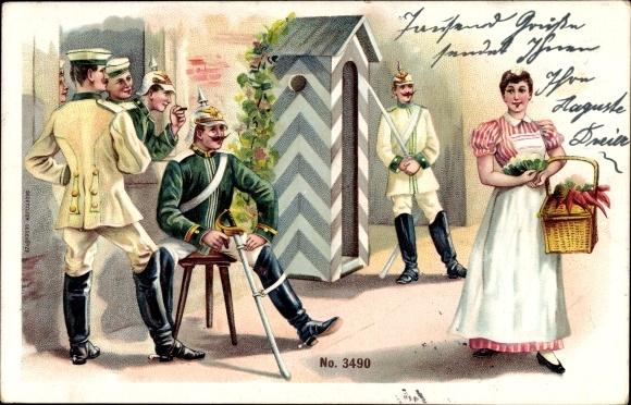Litho Deutsche Soldaten, Kürassiere, Dienstmädchen mit Rüben
