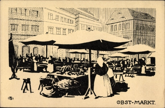 Künstler Ak Dresden, Obstmarkt, Marktstände