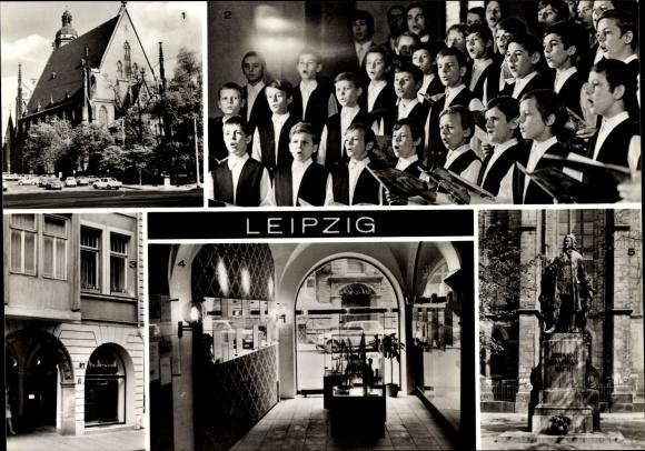 Ak Leipzig in Sachsen, Thomaskirche, Thomanerchor, Bach Gedenkstätte, Innenansicht