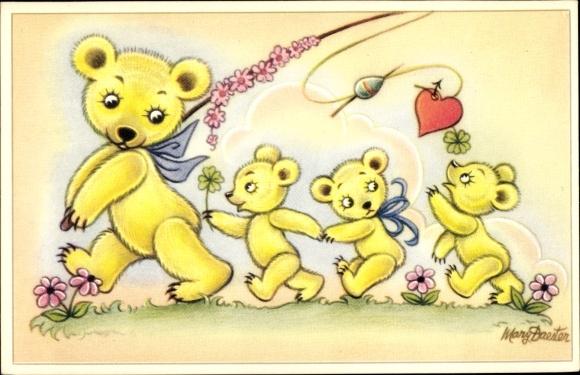 Künstler Ak Daester, Mary, Bärenmutter mit drei Jungen, Angel, Herz, Kleeblätter