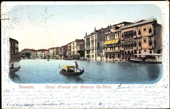 Ak Venezia Venedig Veneto, Canal Grande col Palazzo Ca-Doro, Kanal, Gondeln