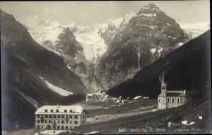 Ak Trafoi Südtirol, Gasthof und Hotel zur schönen Aussicht, Kirche