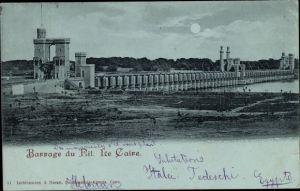 Mondschein Ak Cairo Kairo Ägypten, Barrage du Nil, Staudamm
