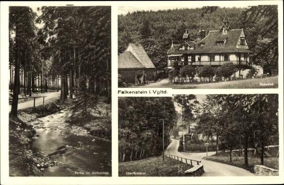 Ak Falkenstein im Vogtland Sachsen, Partie im Göltzschtal, Hanneloh, Oberförsterei
