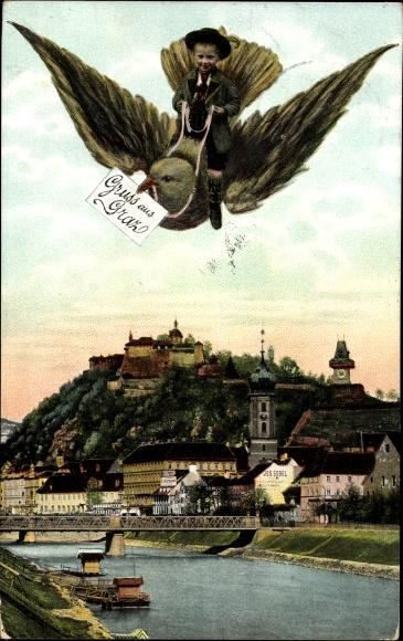 Ak Graz Steiermark, Blick über den Fluss und eine Brücke auf die Stadt, Junge reitet auf einer Taube