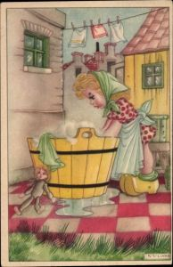 Künstler Ak Links, Karel L., Frau wäscht Wäsche im Waschzuber, Puppe, Holzschuhe