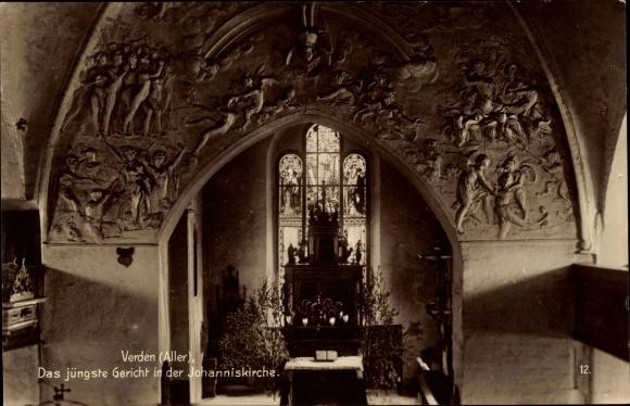 Ak Verden an der Aller, Blick auf das Fresko Das jüngste Gericht in der Johanniskirche