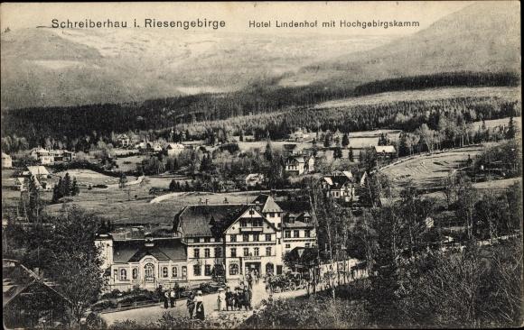 Ak Szklarska Poręba Schreiberhau Riesengebirge Schlesien, Hotel Lindenhof, Hochgebirgsklamm