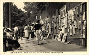 Ak Hampstead London, Artists show their pictures in the open air, Gemälde