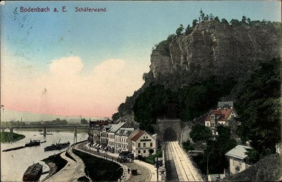 Ak Děčín Tetschen Bodenbach Elbe Reg. Aussig, Stadtansicht, Blick auf die Schäferwand