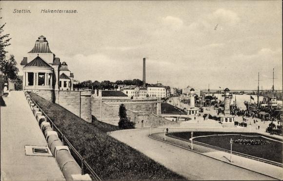 Ak Szczecin Stettin Pommern, Blick auf die Hakenterrasse, Grünanlage