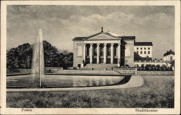Ak Poznań Posen, Blick auf das Stadttheater, Springbrunnen, Grünanlage