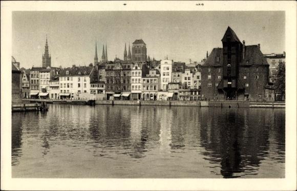 Ak Gdańsk Danzig, Stadtpanorama vom Fluss gesehen