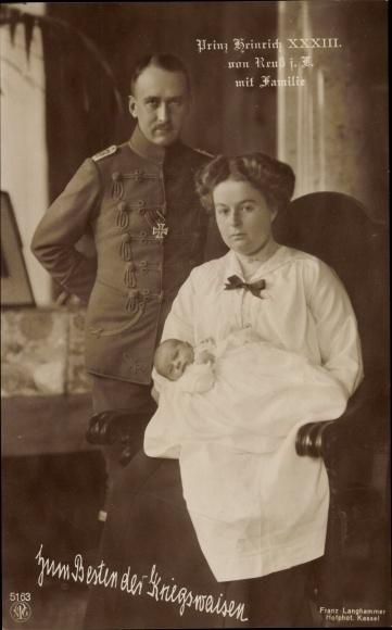 Ak Prinz Heinrich XXXIII. von Reuss j.L., Portrait mit Gemahlin und Kind, NPG 5163